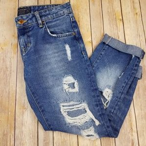 ZARA Distressed Boyfriend Cuffed Jeans